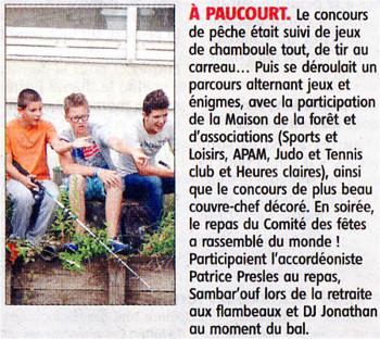 Article de Fabrice Kocaj sur la Journée du 14 Juillet à Paucourt et publié par l'Eclaireur-du-Gâtinais dans son édition du 15 Juillet 2015.