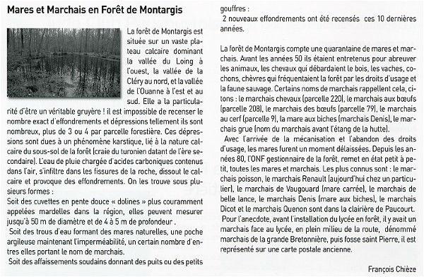 """""""Vivre à Paucourt"""" - Mars 2010 - Texte de François Chièze sur les mares et marchais en Forêt de Montargis. Cliquez dessus pour l'agrandir."""