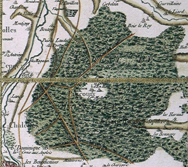 La Forêt de Montargis extraite de la carte de France réalisée par les Cassini entre 1750 et 1790
