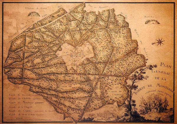 Carte royale de la Forêt de Montargis - début du XVIIIème siècle - Bibliothèque Nationale de France