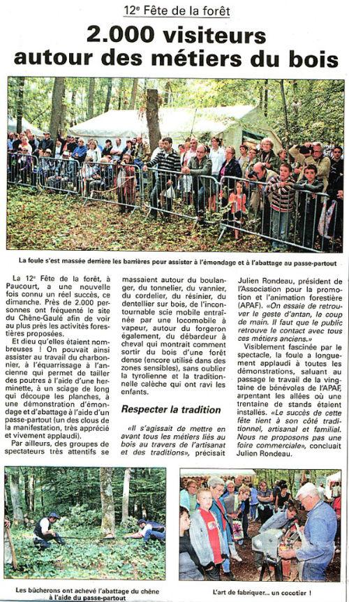 Article publié par l'Eclaireur-du-Gâtinais du 16.09.2010
