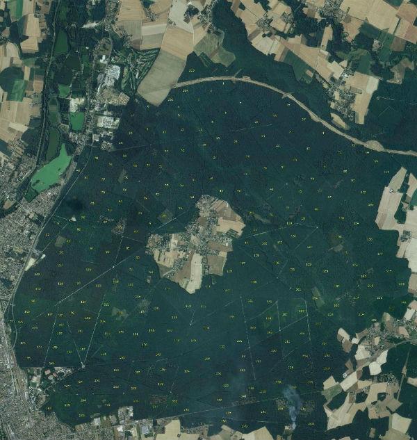 La Forêt de Montargis, par Géoloiret. On distingue le tracé de l'autoroute A19