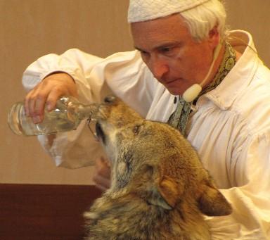 """Philippe Le Hir, le conteur de loups, donne à boire à """" Biatche """". Cliquez sur la photo pour l'agrandir."""