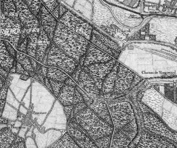"""Carte partielle de la Forêt de Montargis sur laquelle on peut lire """"Montcochon"""" - Cliquez sur la carte pour visualiser l`histoire de ce prieuré aujourd`hui disparu."""
