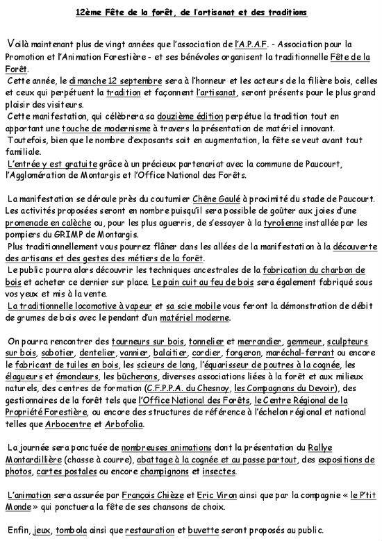 Programme complet de la Fête de la Forêt 2010, tel que me l'a communiqué Julien Rondeau, Président de l'A.P.A.F. Cliquez ici pour l'agrandir, le visualiser, le télécharger et l'imprimer au format .pdf.
