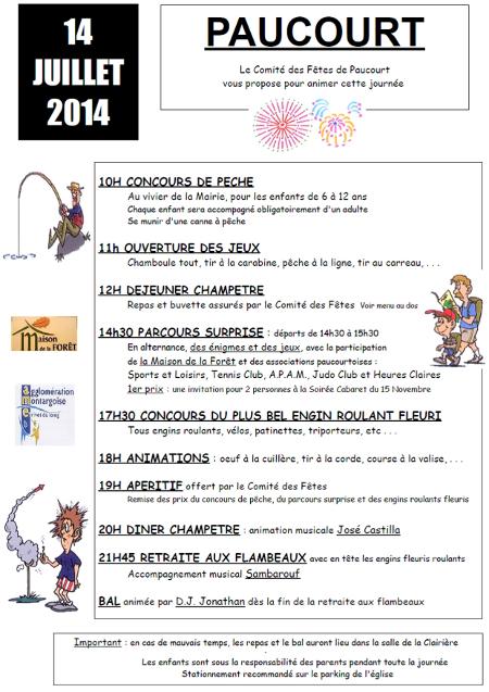 Affiche du 14 Juillet 2014. Cliquez dessus pour la visualiser, la télécharger et / ou l'imprimer au format .pdf