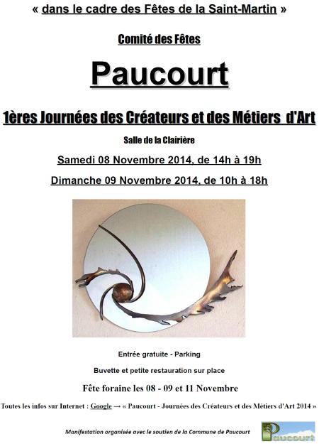 Cliquez sur ce flyer pour découvrir l'affiche des 1ères Journées des Créateurs et des Métiers d'Art de Paucourt