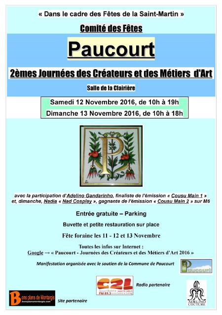 """Nouveau flyer des """" 2èmes Journées des Créateurs et des Métiers d'Art de Paucourt """". Cliquez dessus pour l'afficher plein écran."""
