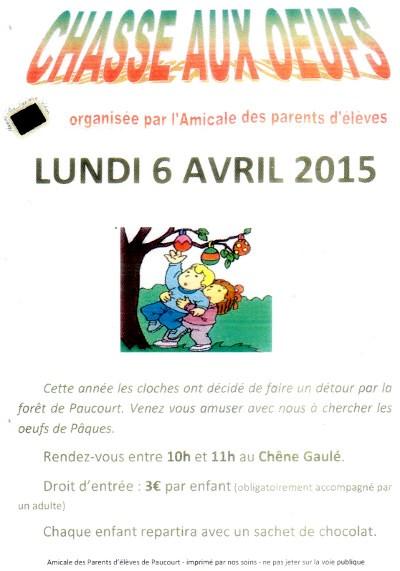 Rendez-vous entre 10h et 11h, le lundi de Pâques, au Chêne Gaulé, pour la grande chasse aux oeufs de l'Amicale des Parents d'Elèves.