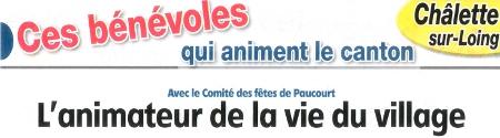 Cliquez sur le bandeau ci-dessous pour visualiser l'article paru dans l'Eclaireur-du-Gâtinais du 19.09.2013 sur le Comité des Fêtes de Paucourt, animateur de la vie du village.
