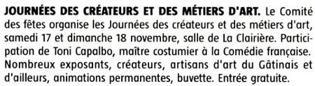 Article publié par l'Eclaireur-du-Gâtinais le 24.10.2018