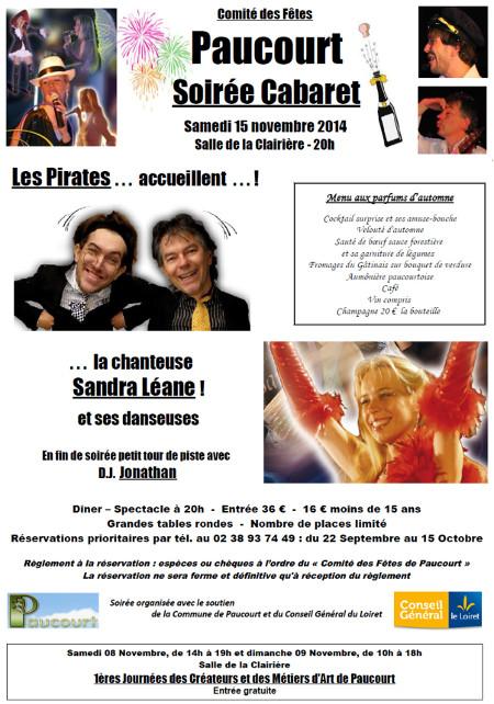 Flyer de la Soirée Cabaret du Comité des Fêtes de Paucourt du samedi 15 Novembre 2014. Cliquez dessus pour l'agrandir et le visualiser au format .pdf
