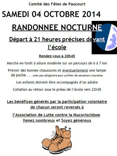Flyer de la randonnée nocturne du Comité des Fêtes de Paucourt du samedi 04 Octobre 2014