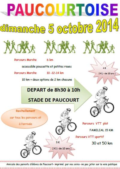 Flyer de la Paucourtoise 2014 organisée par l'Amicale des Parents d'Elèves de Paucourt le dimanche 05 Octobre.