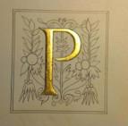 """Pose de la feuille d'or sur l'assiette à dorer. Le """" P """" est en relief"""