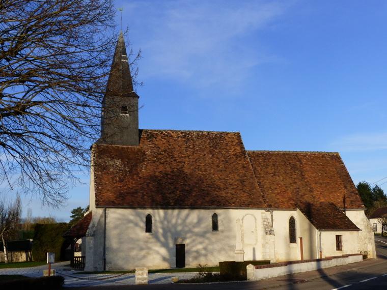 L'église de Paucourt le 18.01.2015. Près de 75 ans séparent la carte postale ci-dessus de cette photo.