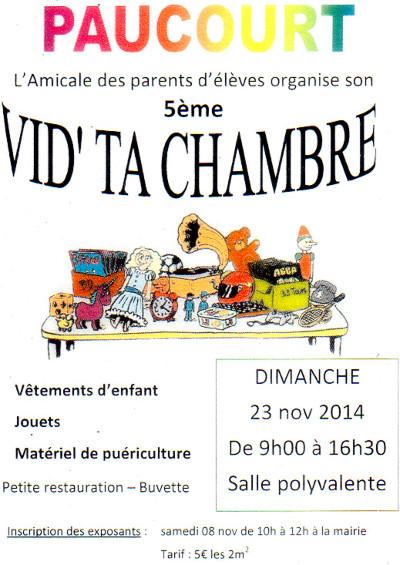 """Flyer du 5ème """" Vid' ta chambre """" organisé par l'Amicale des Parents d'Elèves de Paucourt"""