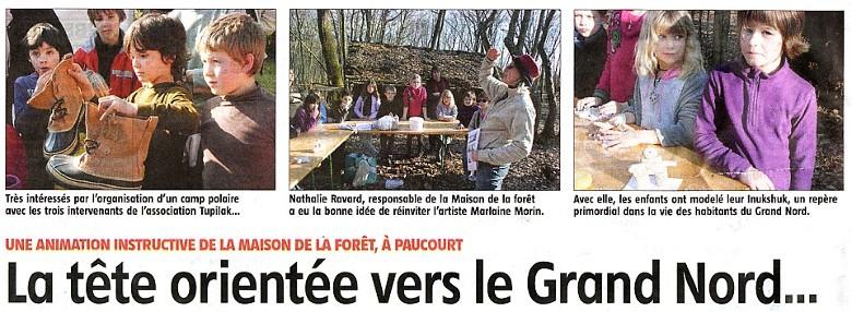 """Journée """" Grand Nord """" du mercredi 29 Février 2012. Cliquez ICI pour visualiser l'excellent article de Laurence Bernard publié dans l'Eclaireur-du-Gâtinais du 8 Mars 2012."""