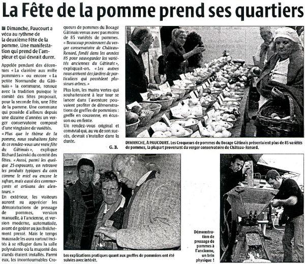 Compte-rendu de la 2ème Fête de la Pomme paru dans la République du Centre du 15.11.2010