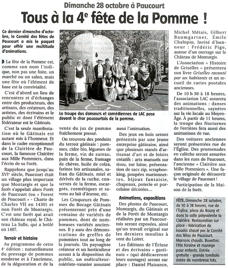 Article publié par L'Eclaireur-du-Gâtinais dans son édition du 18.10.2012 annonçant la 4ème Fête de la Pomme.