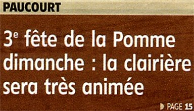 La 3ème Fête de la Pomme de Paucourt à la Une de l'Eclaireur-du-Gâtinais du 10.11.2011