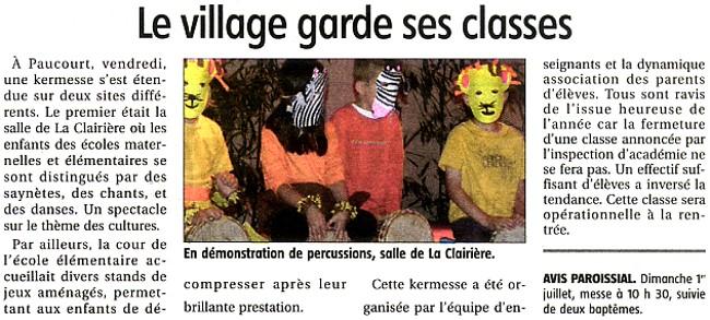 Une kermesse joyeuse à l'Ecole de Paucourt le vendredi 22 Juin 2012 : la 4ème classe ne fermera pas !