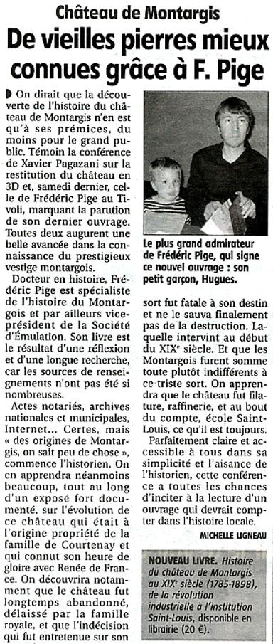 Frédéric Pige et le Château de Montargis