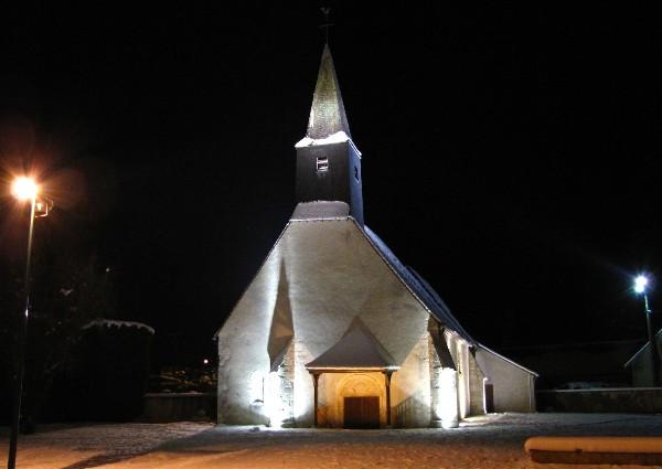 L'église de Paucourt, sous la neige, le 4 Décembre 2010.