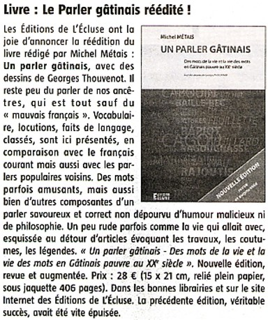 "Le "" Parler Gâtinais "" de Michel Métais"