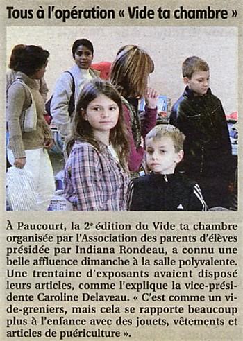 Paucourt - Vid' ta chambre du 20.11.2011 - Compte-rendu paru dans l'Eclaireur-du-Gâtinais du 24.11.2011
