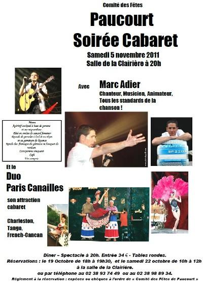 Affiche de la Soirée Cabaret 2011 du Comité des Fêtes de Paucourt - Dates fixées pour les réservations.